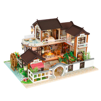 Creative DIY cottage Children Adult Miniature Doll house Wooden Kits custom toy Chinese Ancient town building birthday gift