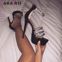 Женские босоножки на тонком высоком каблуке модные летние сандалии