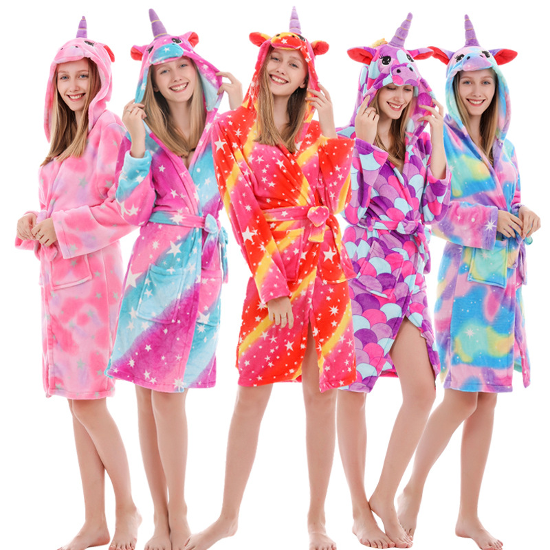 Kigurumi Unicorn Hooded Adult Bathrobes Rainbow Bath Robe Animal For Girl Pyjamas Nightgown Adult Women Sleepwear