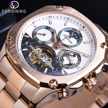 Forsining Designer Automatic Tourbillon Watch Mens Rose Golden Moonphase Date Skeleton Mechanical Pilot Steel Strap Montre Homme