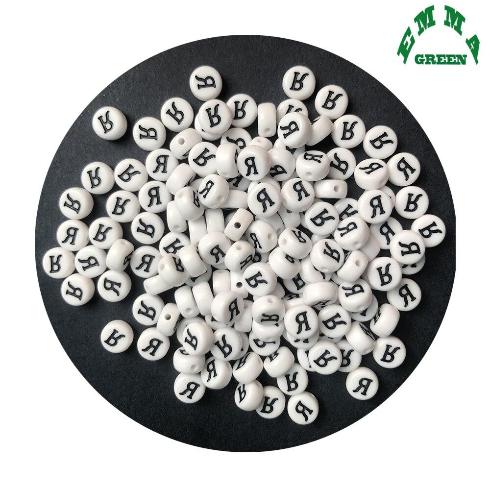 100PCS Blanc Cube Acrylique Spacer Lettre Perles A-Z Alphabet À faire soi-même Bracelet Collier