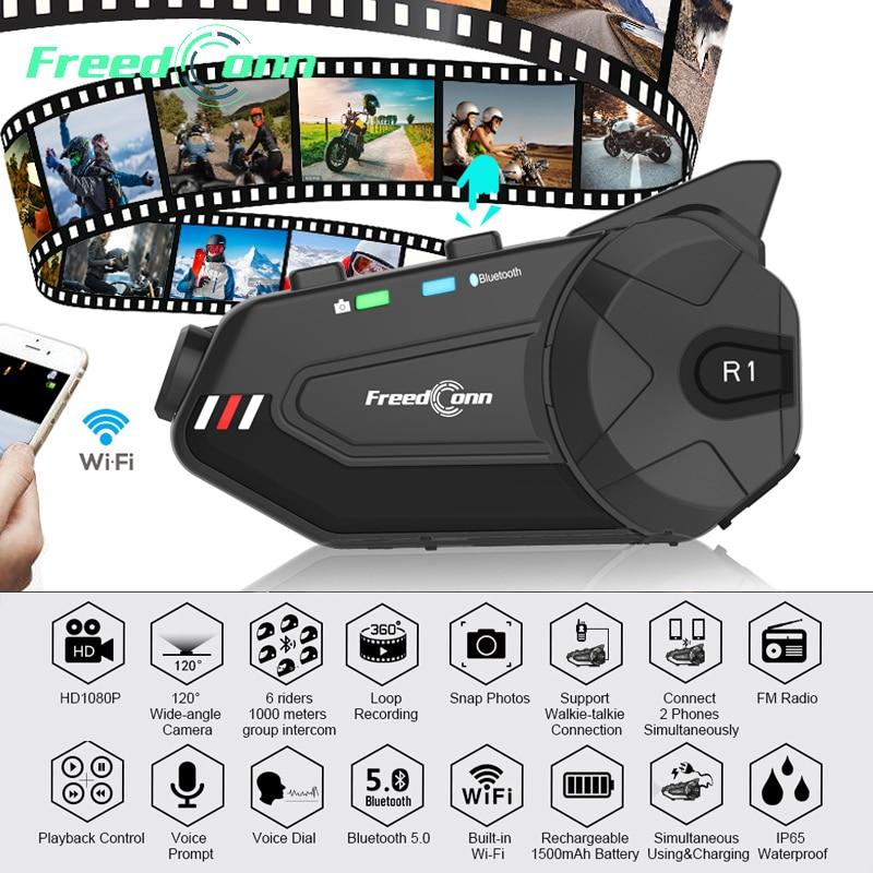 R1 Plus Wifi Recorder Bluetooth 5.0 Motorcycle Group Intercom HD 1080P Video FM Wifi 6 Riders  Helmet Interphone Headset