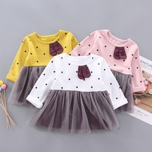 Autumn Hot Sale Casual Baby Girls Cute Dot Print Patchwork Design Long Sleeve Dress With Leggings Sundress Set