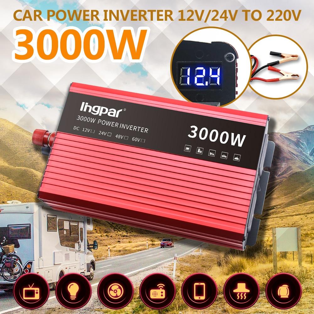 Lingpar 3000 Вт пик Сплит инвертор 12 В преобразователь напряжения трансформатор 220 В портативный автомобильный прикуриватель зарядное