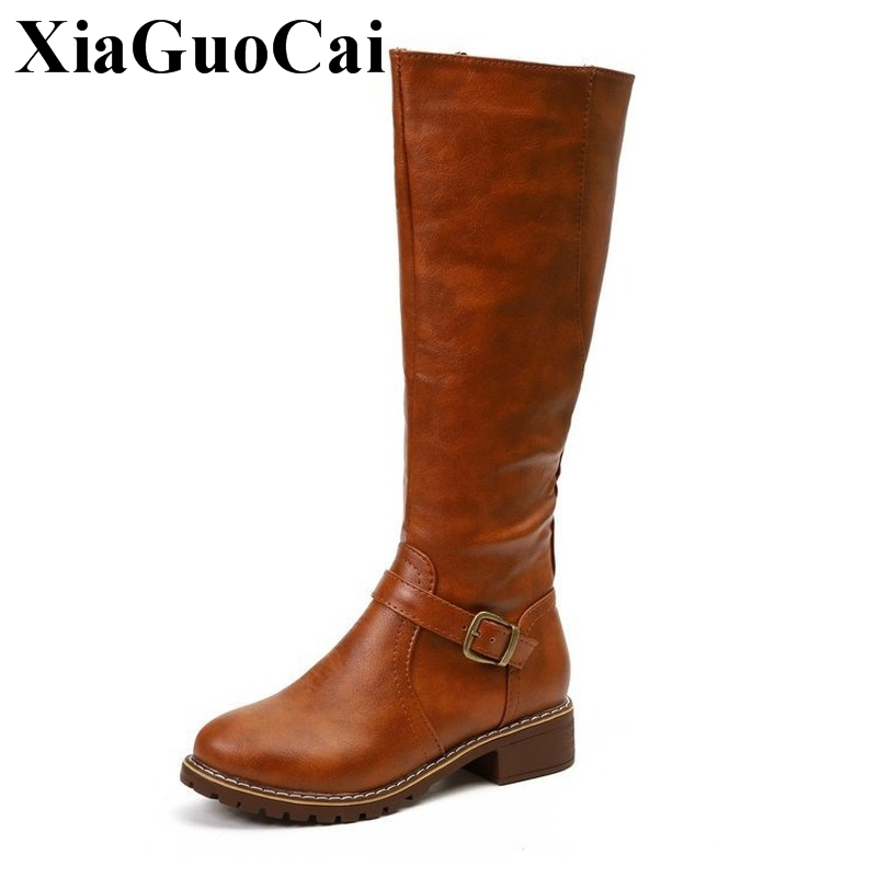 2019 New Women Boots Knee High Large Size Shoes for Autumn Winter Retro Solid Female High Heel Boots Waterprrof Anti skid Design in Knee High Boots from Shoes