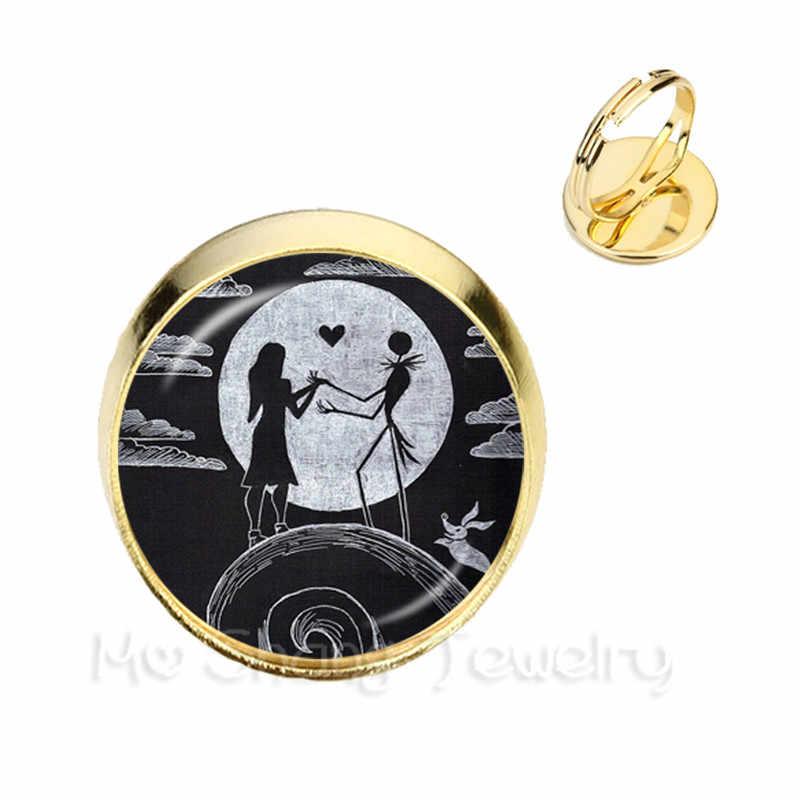 Nuevos anillos clásicos de Jack y Sally ajustables chapados en plata/oro con cúpula de cristal de 2 colores para regalos de fiesta de Halloween