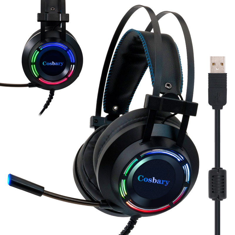 Beroep Gaming Headset Met Doos Diepe Bass Game Hoofdtelefoon Met Microfoon Voor Computer Gamer 7.1 Usb Kanaals Surround Sound