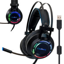 Professional Gaming Headset with Deep Bass Game Headphones with Microphone for Computer PC Gamer 7.1 USB Channel Surround Sound