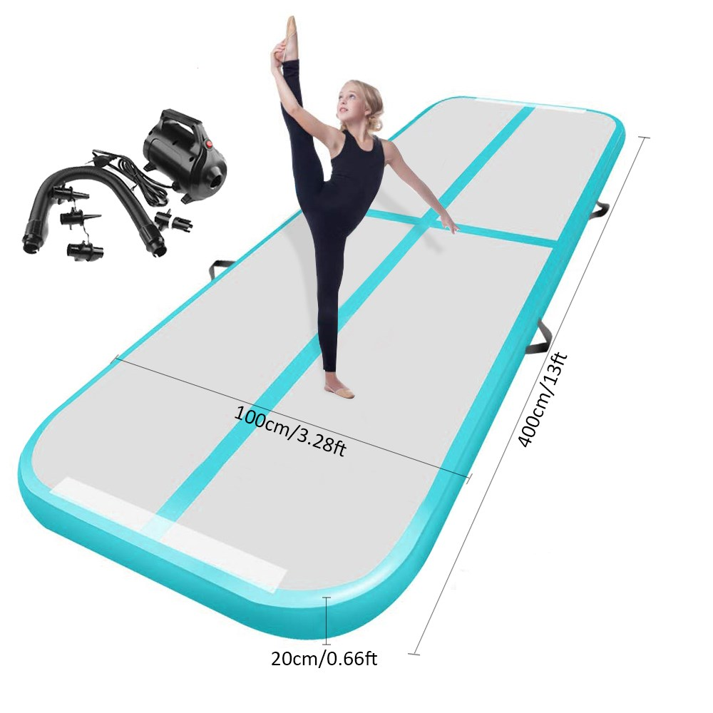4m*1m*0.2m Gymnastics Inflatable Air Track Tumbling Gymnastic Mat Floor Home Training 20cm Thick Airtrack Mat Gift