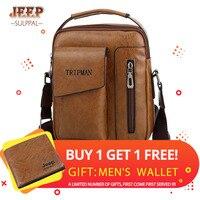 JEEP Sulppai мужская кожаная винтажная цветная сумка через плечо с верхней ручкой и через плечо ремешок KSL716M