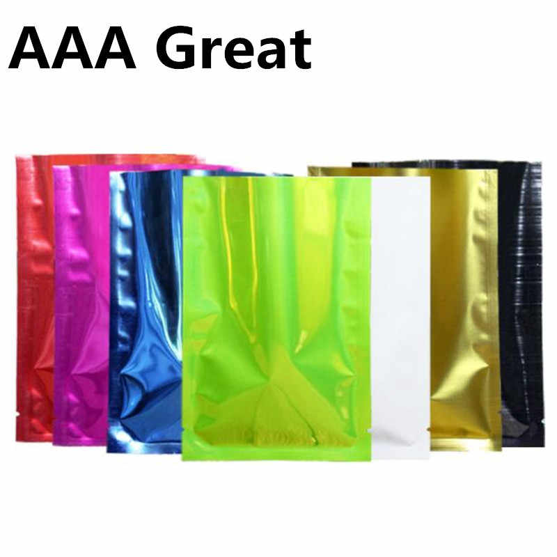 100pcs/Lot Bags Food Coffee Packaging Mylar Aluminum Foil Sample Pouches Open Top Colorful Nuts Vacuum Storage Candy Bags Gifts