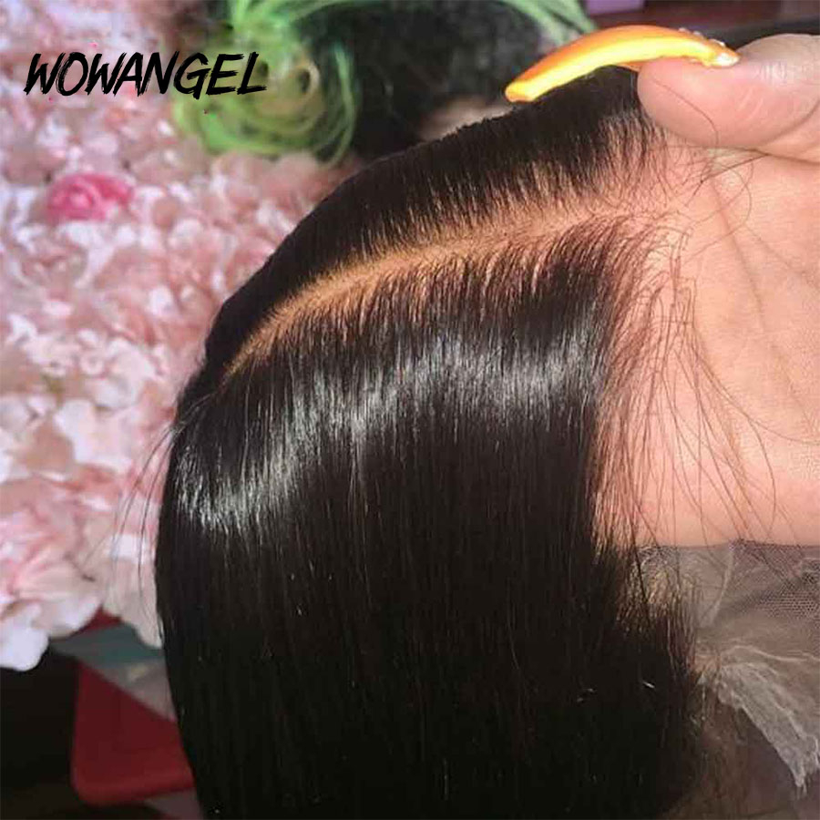 Wowangel Pre Plucked Full Lace Human Hair Wigs Bleached Knots Wigs Transparent Lace Wigs Straight Glueless Full Lace Wigs