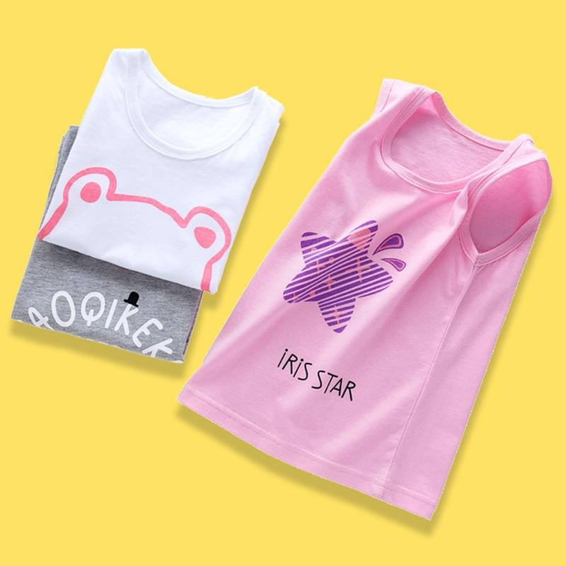 Summer Baby Girls Boys Sleeveless Cartoon Print Vest Kids Cotton Tops Tees Casual Blouse
