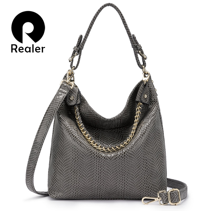 REALER Women Shoulder Bag Female Large Hobos Luxury Handbag With Top-handle For Ladies Artificial Leather Tote With Chain 2019