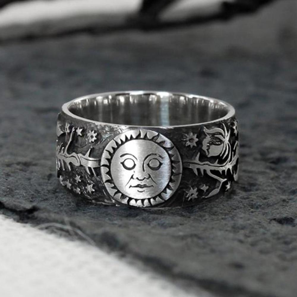 Huitan New Vintage Metallic Style Couple Finger Rings Sun Moon Star Leaves Pattern Antique Daily Wear Women Rings Retro Jewelry