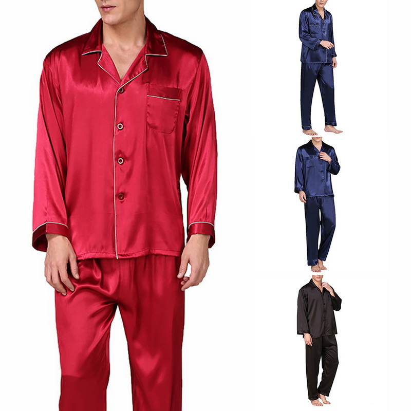 2020 New Pajamas Man Spring Casual Solid Male Pajamas Full Sleeve V-neck Nightwear Natural Color Polyester Sleepwear For Men