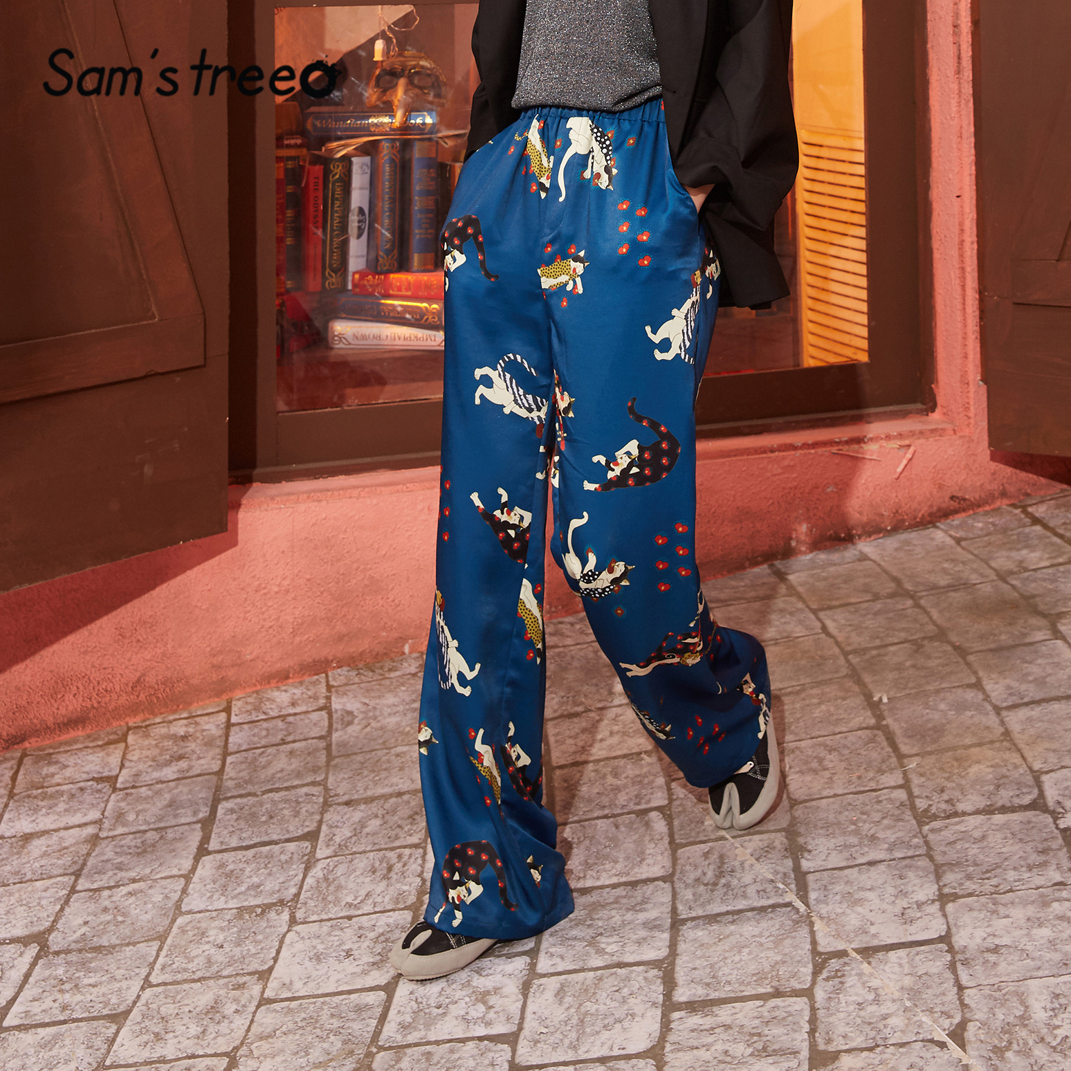 SAM'S TREE Blue Graphic Print Straight Satin Women Wide Leg Pants 2020 Spring Elastic Waist Loose Casual Ladies Daily Trousers