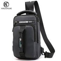 Mochila de pecho impermeable para hombre, bolso de hombro, USB, mochila de día, bolsas de viaje
