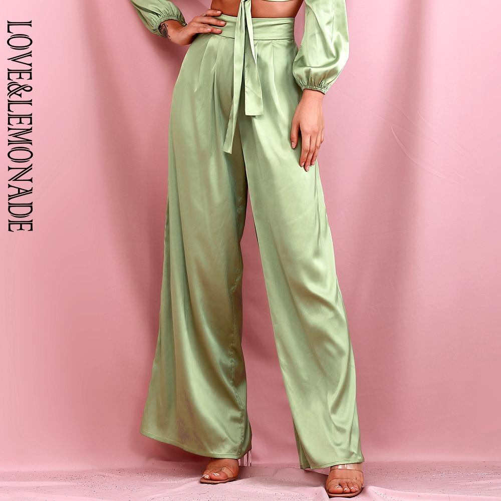 LOVE & LEMONADE Light Green High Waist Wide Leg Loose Long Pants Spring LM82199-PANTS