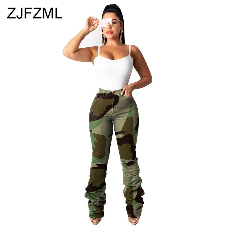 Sexy Camouflage Skinny Jeans For Women High Waist Ruched Long Denim Pants Plus Size Streetwear Causal Pockets High Elastic Jeans