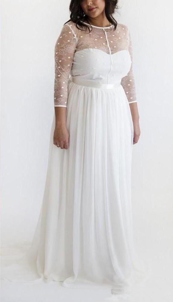 Wedding Dresses 2019 Vestido De Noiva Summer Beach Wedding Dress 3/4 Sleeves Sexy Floor Length Chiffon Plus Bridal Gown