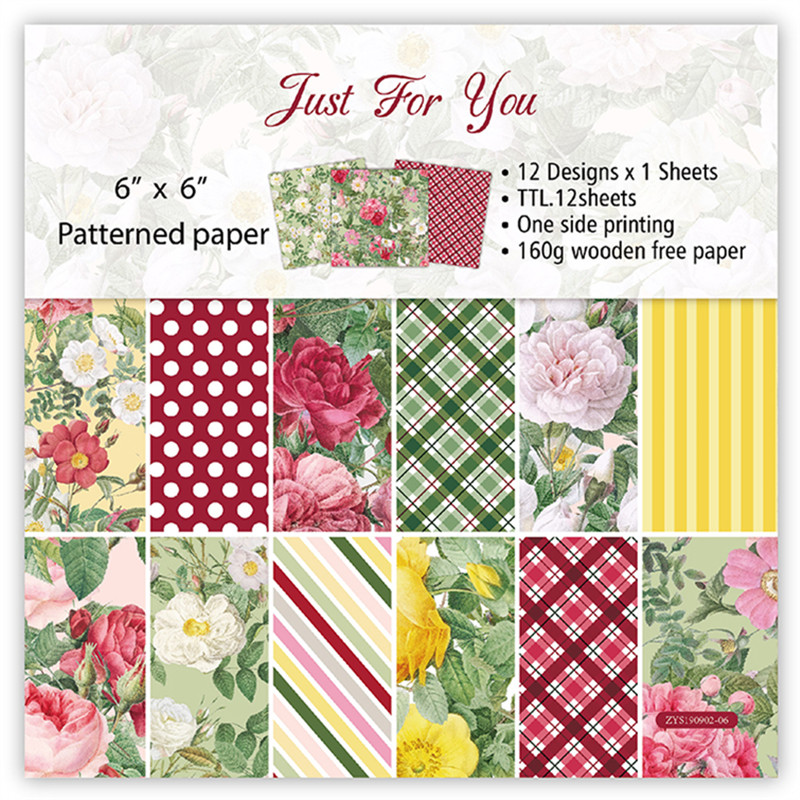 12pc Just For You  Paper Scrapbooking Paper Pack Handmade Craft Paper Craft Background Pad