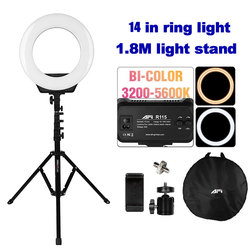 Светодиодный кольцевой светильник для фото-и видеосъемки, 14 дюймов, 3200-6500K, приглушаемый кольцевой светильник для фотографии со штативом 180 ...