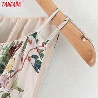 Tangada fashion women leaf print halter sundress with slash 2020 new arrival Ladies midi Dress Vestidos QB148 2