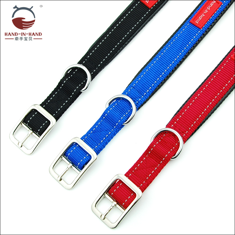 Hand-in-hand Pet Supplies Pet Collar Large Dog Collar Collar Collar Dog Supplies Webbing Reflective Neck Band