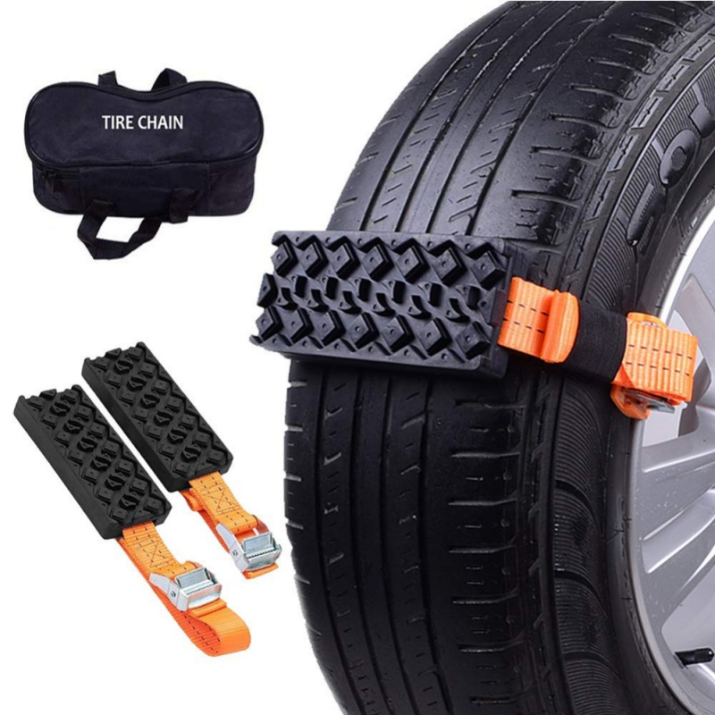 Car Anti Skid Tire Blocks Emergency Snow Mud Sand Tire Chain Straps Traction Device