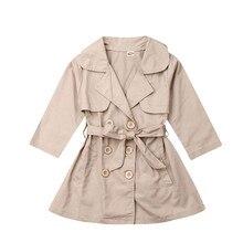 Модный длинный плащ для маленьких девочек, осенняя верхняя одежда, ветровка, пальто
