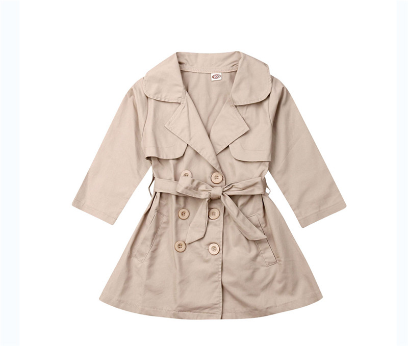 2019 New Fashion Toddler Kids Baby Girl Long   Trench   Coat Autumn Outerwear Wind Jacket Overcoat