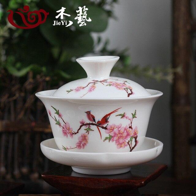 Bird Peach Blossom Porcelain Gaiwan Brewing Vessel Chinese Ceremony Gaiwan White Tureen Ceramic Gaiwan 110ml Gaiwan Tea Cups