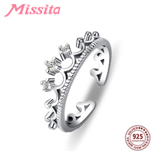 MISSITA 100% 925 Sterling Silver Vintage Crown Rings For Women Silver Jewelry Brand Wedding Finger Ring HOT SELL Gift