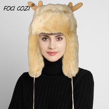 Winter Christmas Hats For Woman Faux Fur Hat With Pompoms Reindeer Antler Santa Deer Horn