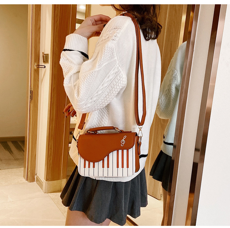 Enjoini bonito padrão de piano moda couro do plutônio casual senhoras bolsas e bolsa ombro crossbody saco do mensageiro bolsa