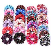 Новые атласные резинки для волос с цветочным принтом для женщин и девочек, эластичные резиновые ленты аксессуары для волос, резинка для волос