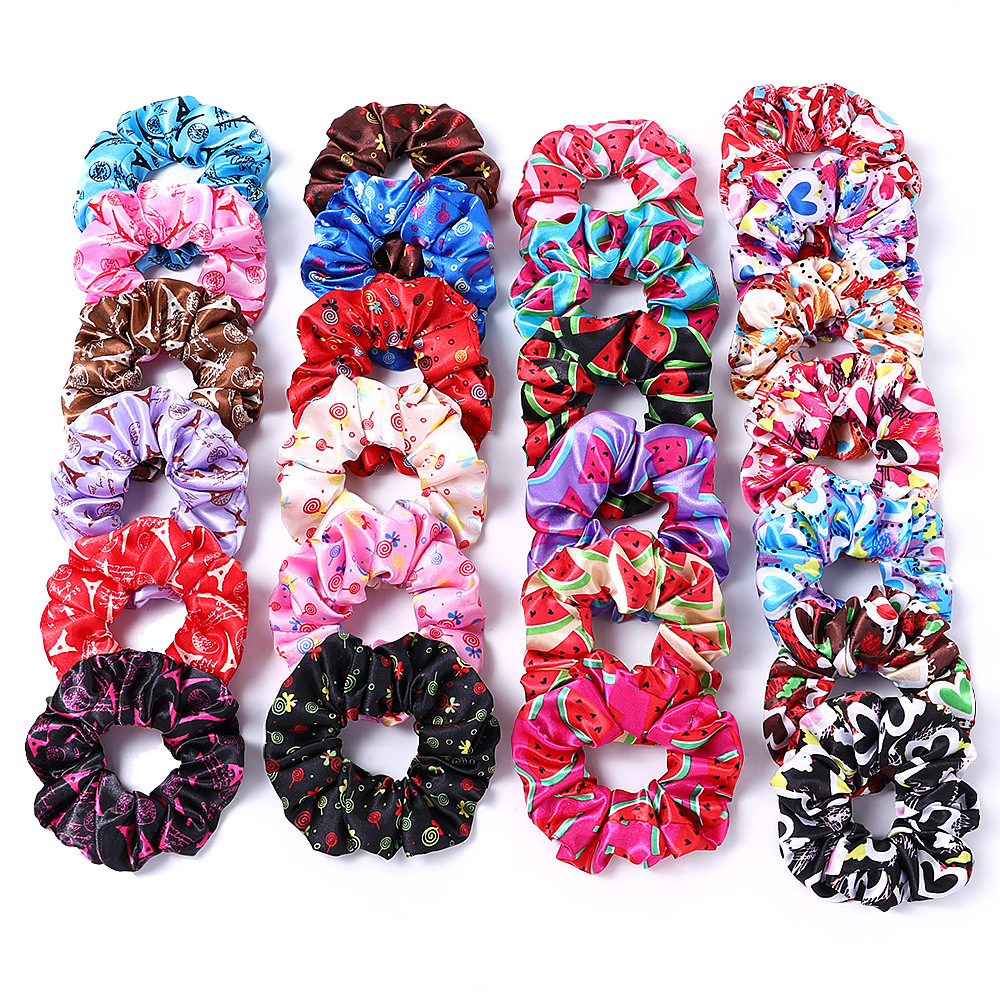 New Satin Printed Flower Floral Scrunchie Women Girls Elastic Hair Rubber Bands Accessories Tie Hair Ring Rope Holder Headdress