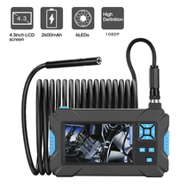 Car Pipe Industrial Endoscope 1080P Borescope HD Inspect Camera 5.5mm Endoscop Camera Fflexible with 4.3 inch Screen 8 LED Light