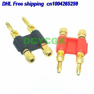 DHL 50pcs 1pair Connector 4mm Dual Banana Jack Binding Post Red & Black Screw Mount Cable Connector  22-ct