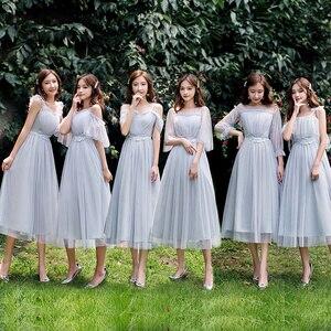 Image 3 - Lato linia do kolan szyfon regularny pas prosty niebieski szary różowy szampan elegancka siateczka Mesh kobiety sukienki druhen 9940