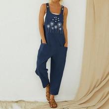 Littlerossa Women Loose Cotton Jumpsuit Summer Floral Button