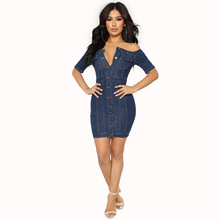 Fashion sexy jeans dress plus size women denim off shoulder blue slim summer dresses large sizes female fitted sundress
