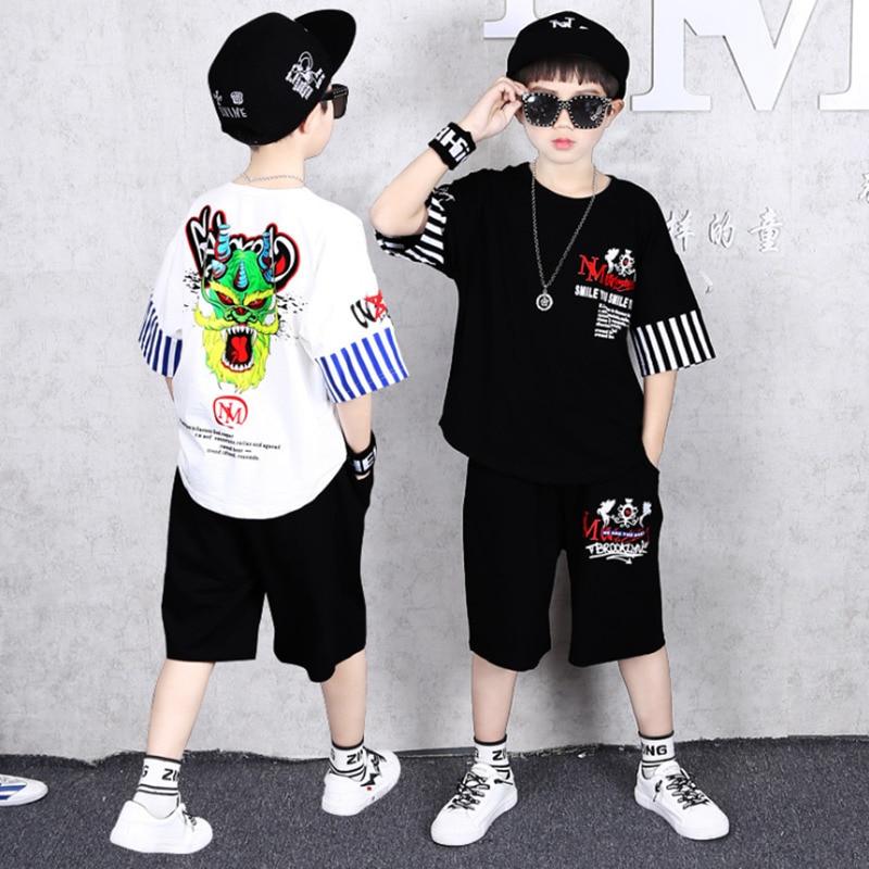 Boys Girls Clothing Set Summer Short Sleeve Cartoon Unicorn Cotton Children Kids Clothes Suit Outerwear T-shirts Two-piece Set