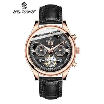 Senors Automatic Mechanical Watch Men Luxury Military Leather Wrist Watch Man Clock Fashion Chronograph Wristwatch