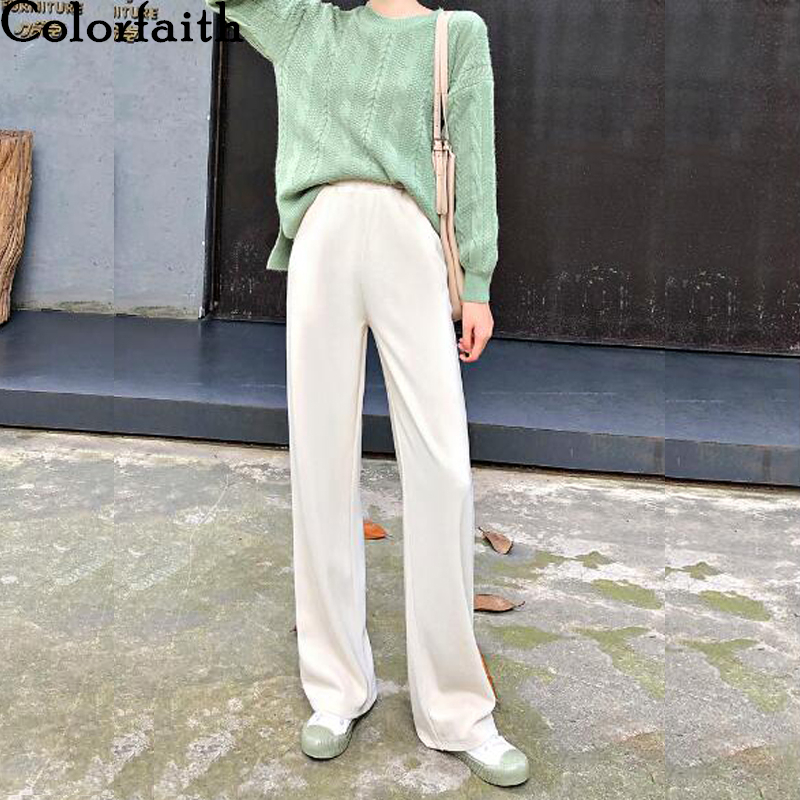 Colorfaith New 2020 Spring Winter Women Pants Straight High Elastic Waist Loose Pockets Soft Casual Knitting Long Trousers P917