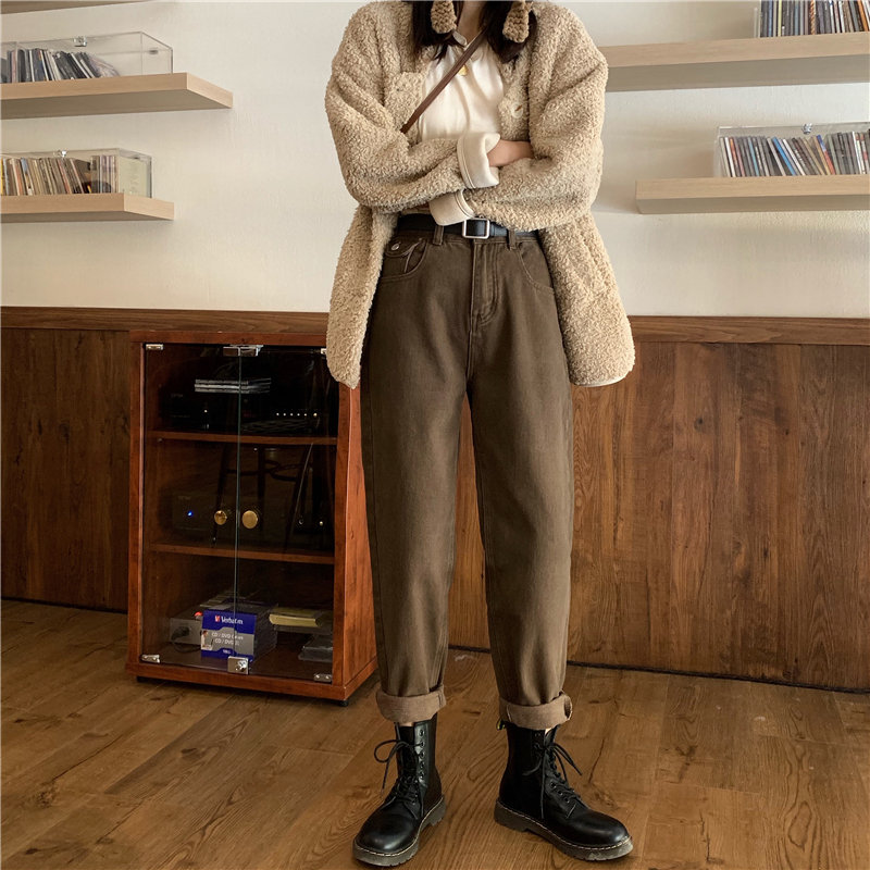 Alien Kitty New Plus Retro Denim Fashion 2020 Solid Stylish Casual High Waist Pockets Jeans Full-Length Women Loose Harem Pants