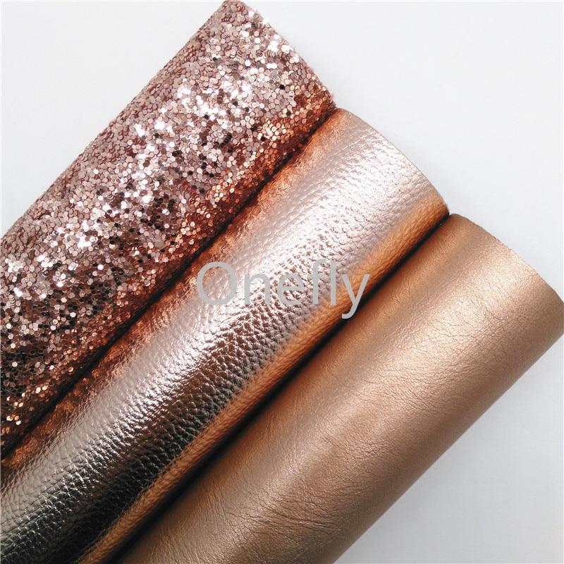 Onefly Кожа розового золота с массивным блеском, листы ткани из синтетической кожи розового золота для рукоделия, сумки, обувь BQ017