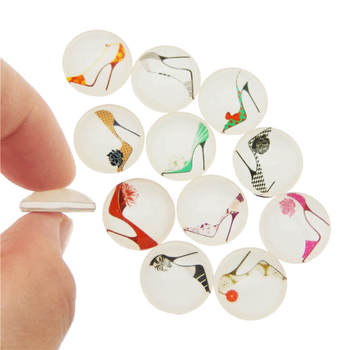 Julie Wang 8-30mm Glass Cabochons Mixed High Heel Pattern Fat Back Round Demo Jewelry Making Accessory image