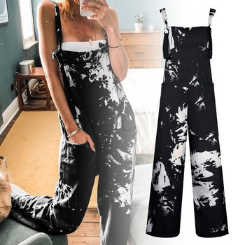 2020 Summer Tie-dye Sleeveless Jumpsuits Women Casual Jumpsuit Loose Wide Leg Trousers Overalls Female Playsuit For Women summer strapless floral rompers women bow tie sleeveless print jumpsuit casual wide leg loose playsuit overalls